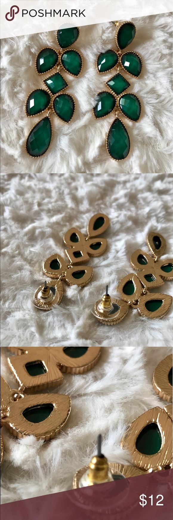 Brand New Emerald Dangly Teardrop Earrings