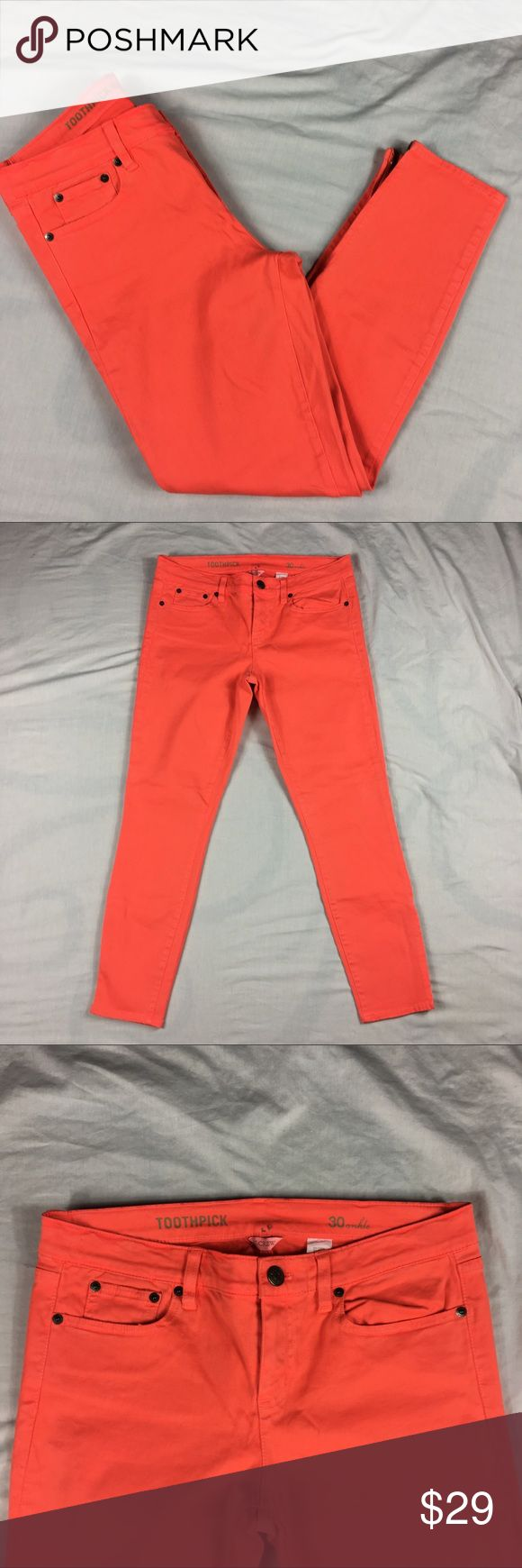 J Crew Toothpick Ankle zip 5 pocket orange jeans J Crew Toothpick Ankle zip 5 pocket orange jeans Women's Size:  30 Ankle Approx measurement: waist - 32 inches; rise - 9 inches; inseam - 27 inches Fabric content: 58% cotton, 39% modal, 3% spandex Machine washable New with tags - see pictures J. Crew Jeans Ankle & Cropped
