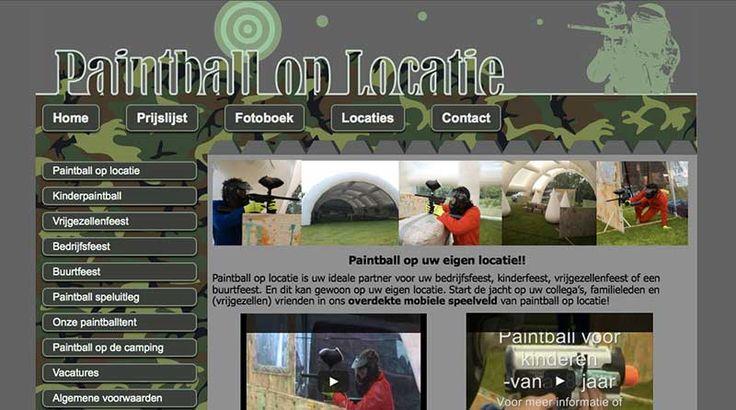 Het #ontwerp voor de #website van Paintball op Locatie. Een voor zichzelf sprekend thema, met een bijpassend ontwerp. Paintball, verf, camouflage... en blauwe plekken!