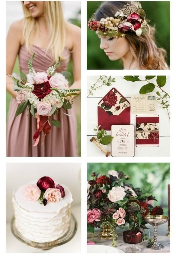 Dusty Pink and Deep Red - 12 Perfect Combinations for Fall Wedding Colors - EverAfterGuide
