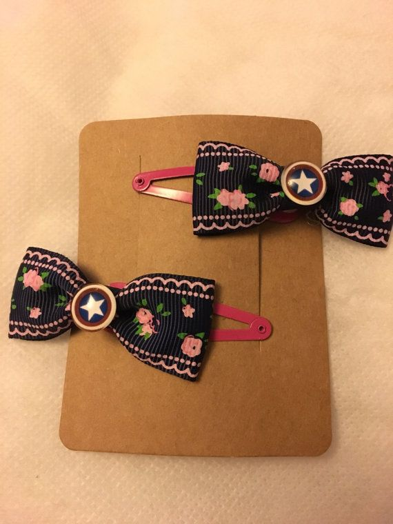 Captain America bow hair clips great nerdy geek birthday gift