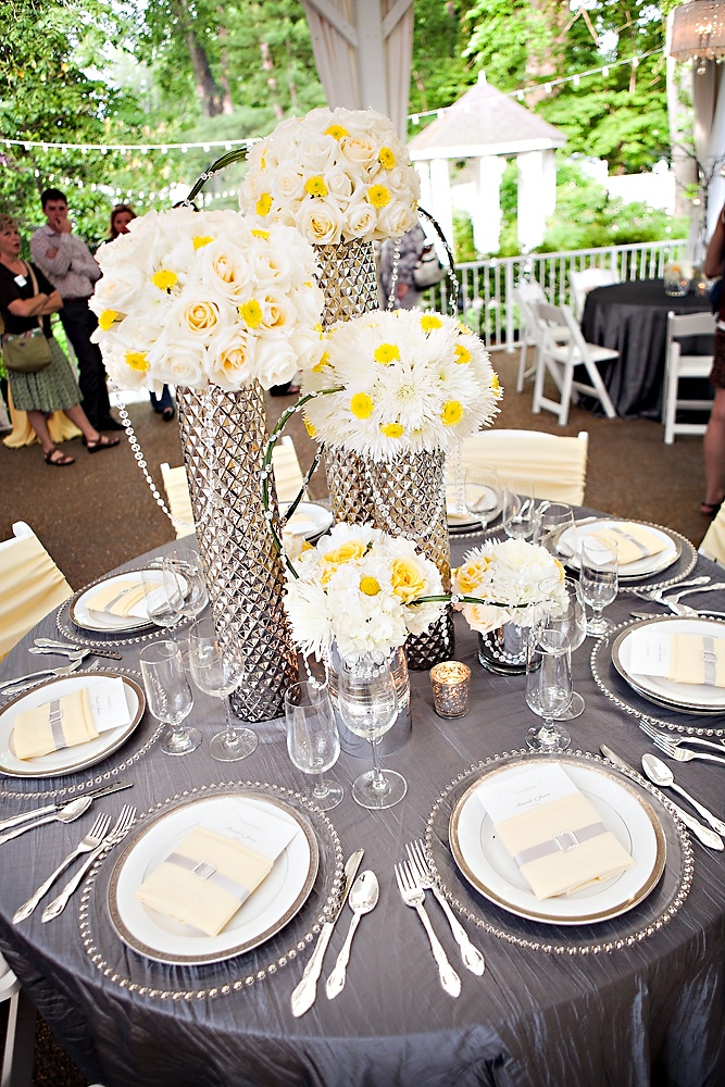 Garden Wedding Venue   Modern Reception Centerpiece by @Caprice Palmer   The Enchanted Florist   Grey Yellow and White - Photo: Phindy Studios