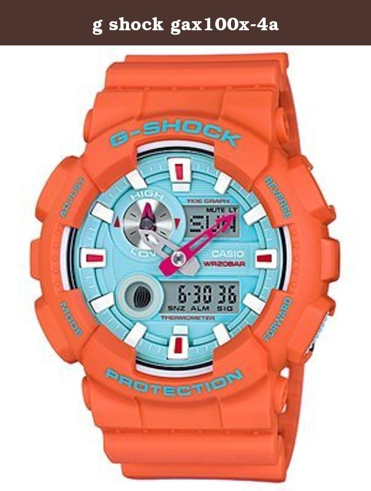 g shock gax100x-4a. This watch is for the surfer. It is orange like the sun with a blue face like Hawaii's water. It has a tide graph and moon data. There is also a thermometer that reads from 14 to 140 degrees F. This watch is a collaboration between Casio and the famous sports brand In4ormation. The ring of the case sports the In4mation logo as does the special tin and box the watch comes in.