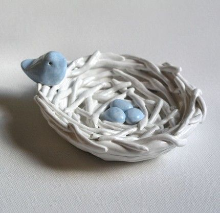 Polymer Clay can take on a completely different look and finish if you use paint. Then once painted, the artist/maker can apply high gloss varnish. This birds nest looks like a top quality china porcelain model.                                                                                                                                                      More