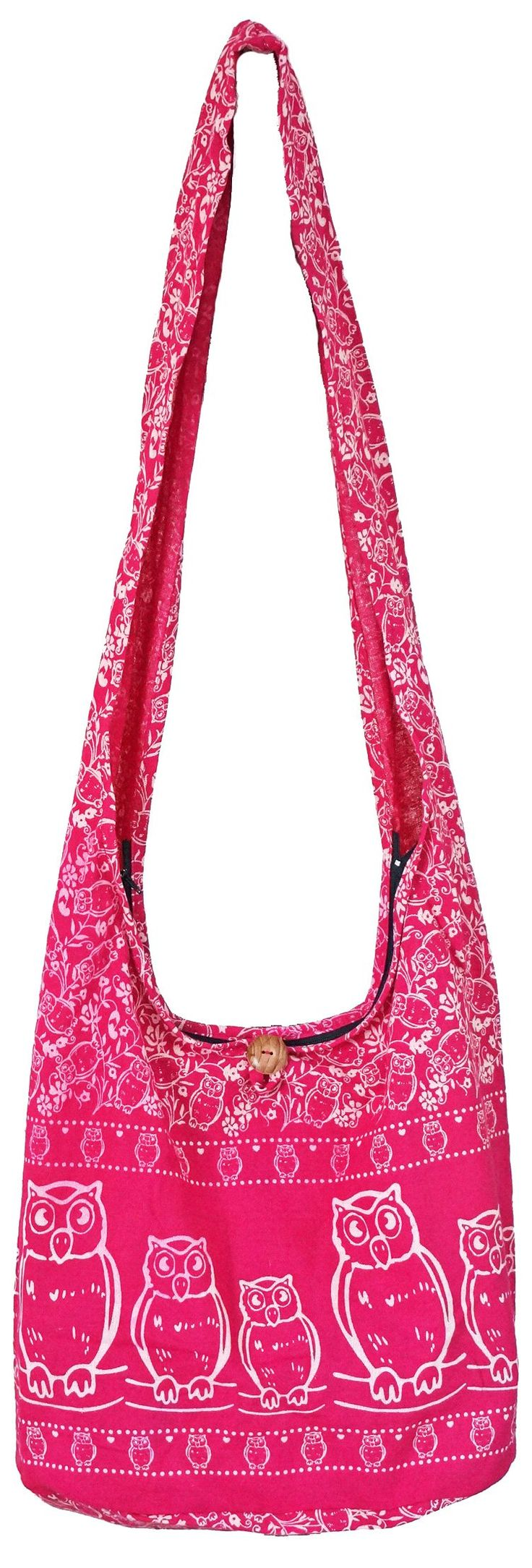 """Artiwa Hippie Sling Crossbody Shoulder Bag and Purse for Women Zipper Owl Print Fuchsia Pink Large. Fuchsia Pink color. Cute and Unique Owls Design. Zippered Top Closure assures the security of your personal belongings with inside pockets for sort and separation. Height : 14"""" Width : 16"""" Depth : 8 """" Length of Strap: 42"""" Width of Strap: 5"""". Only avaialble at Artiwa sotre. Beware of Counterfeit Artiwa Products. Fake products do not represent Artiwa's high standards for design, materials or..."""