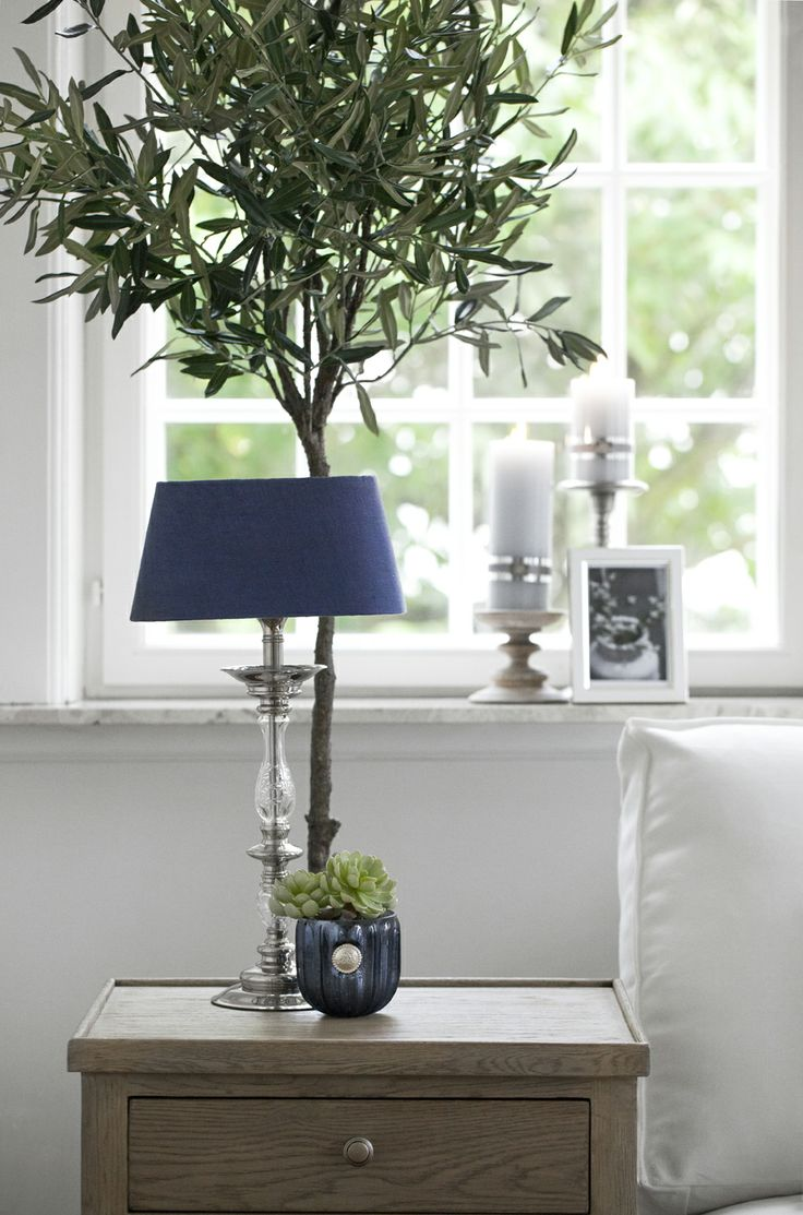 CLASSIC side table, DANTE tealight with FLORA decoration succulent, FREDERIKKE LIGHTING lamp with RUSTIC LINEN shade. Lene Bjerre, spring 2014.