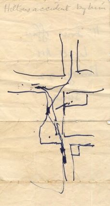 ROGER HILTON   Cornwall: 'I cannot date another drawing that I kept, a somewhat bizarre one but still very Hiltonish, showing the route of his car (possibly Land-Rover), in an accident in Penzance. He did this for me in the sleeping compartment of the night train to Paddington from Penzance, when we were journeying together. I have a feeling that he lost his licence as a result of this accident.' (text Michael Canney)     ✫ღ⊰n