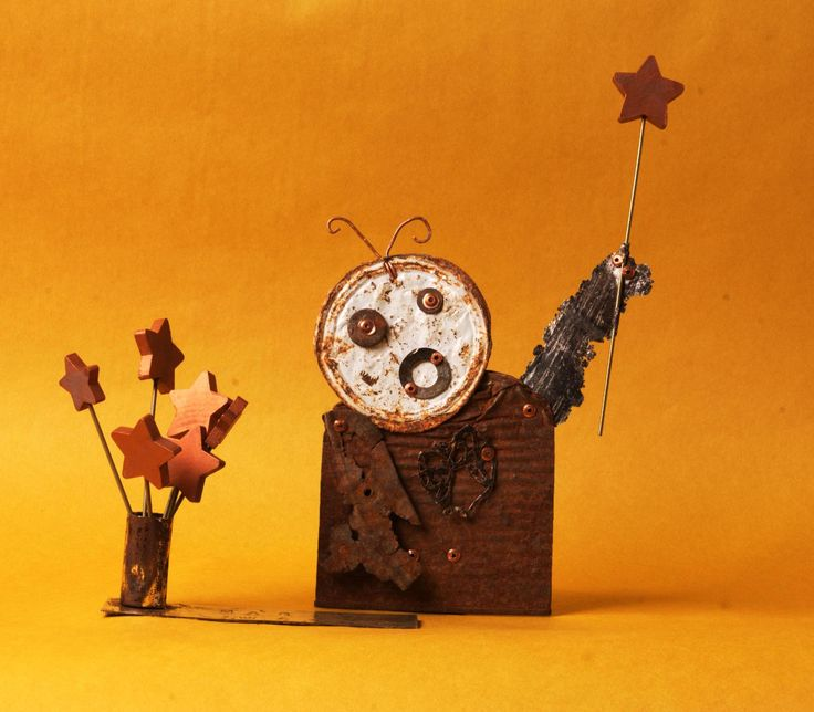 Magic Wands - Recycled riveted metal sculpture created at Copper Lizard Studio