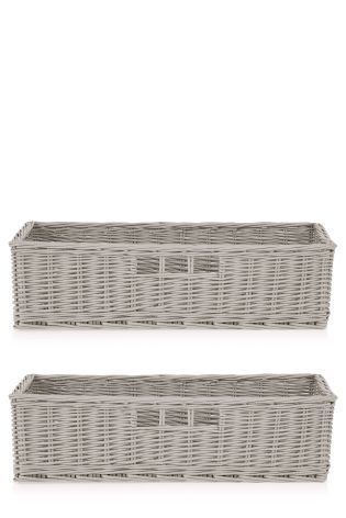 Buy Set Of 2 Grey Painted Willow Long Storage Basket from the Next UK online shop