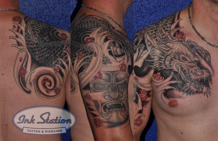 tattoo from billy from the ink station stuttgart  www.ink-station.net  #tattooart #tattoocommunity #tattoostyle #tattooartist #tattoooftheday #stuttgart #tattoo #tattoos #tattooed #tätowierung #tattooart #tattoostuttgart  #tattooprofi #tattoomagazin #tattoomag #tattooshop #blackandgrey #blackandgreytattoo #asiatattoo #asia #asiatätowierung #hanya #hanyamaske #drachen #drachentattoo