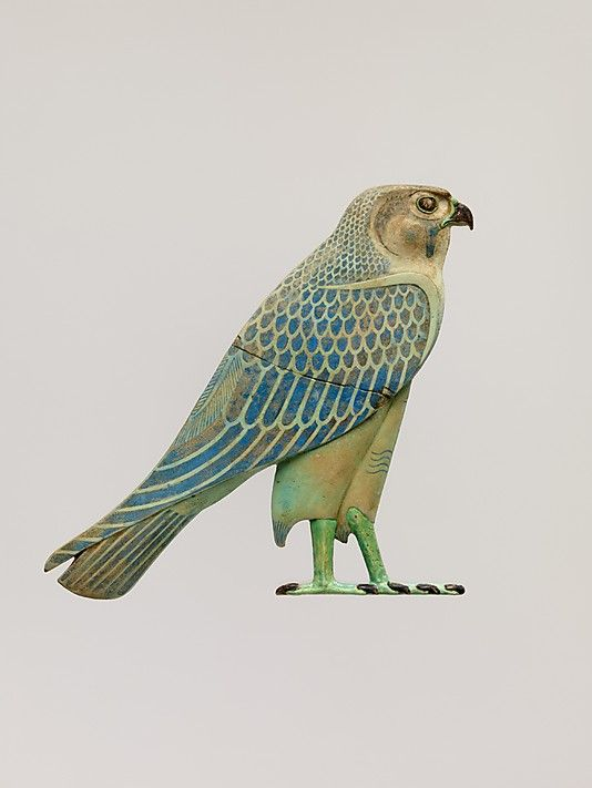Inlay of Horus falcon, Late Period–Ptolemaic, 4th century B.C.E., Middle Egypt, Hermopolis (el-Ashmunein) possibly