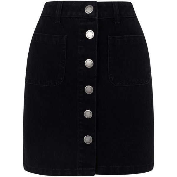 Miss Selfridge Black Patch Pocket Skirt ($49) ❤ liked on Polyvore featuring skirts, mini skirts, black, mini skirt, short skirts, a line skirt, denim mini skirt and short mini skirts