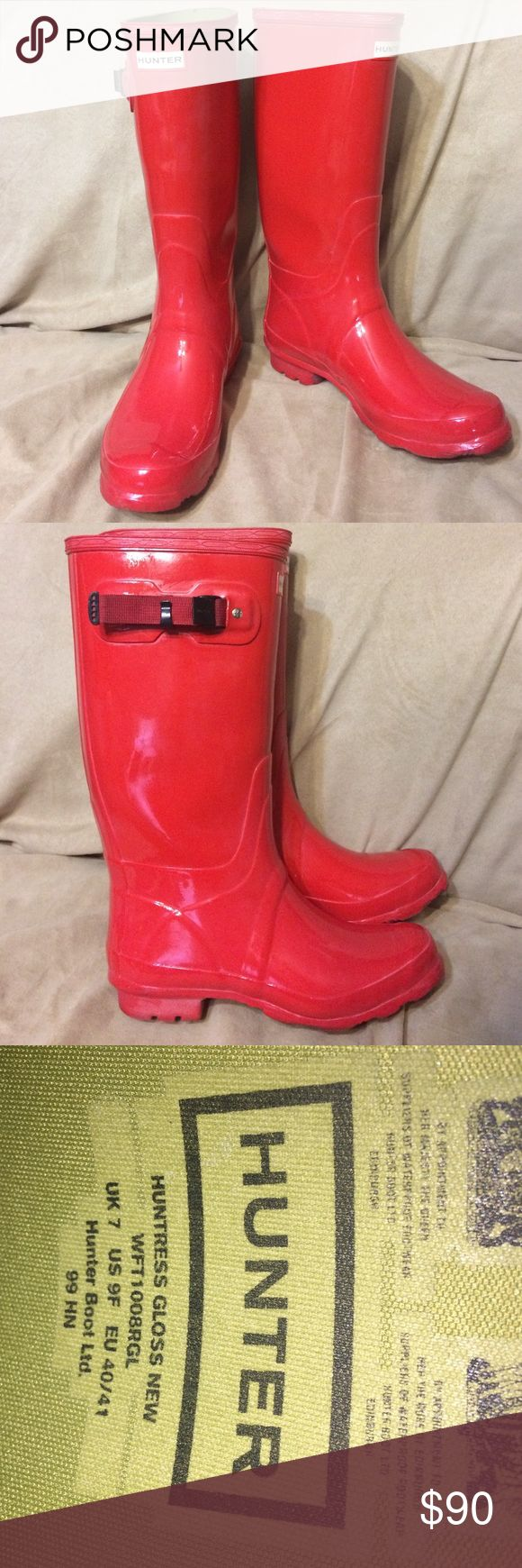 Wide Calf Glossy Red Hunter Boots Sz. 9 Gently used wide calf Hunter rain boots in the color Military Red. Selling solely because they are too large for me. Small amount of wear on the bottom and a small scuff on the left side of the right boot. Hunter Shoes Winter & Rain Boots