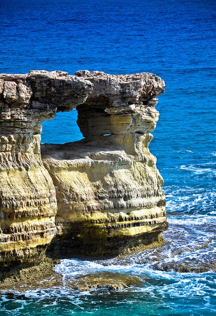 Cyprus, Sea caves. Cyprus is an island country in the Eastern Mediterranean Sea.