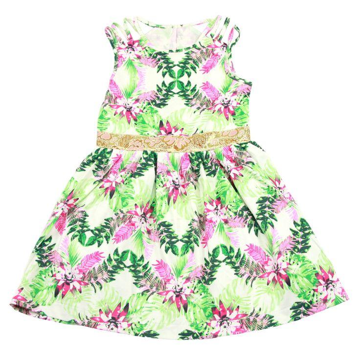 Colorful Tropical Leaf Pink Dress - $ 39.99