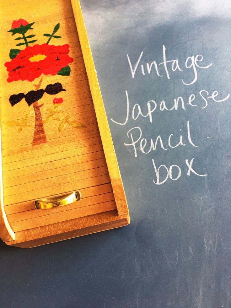 Excited to share the latest addition to my #etsy shop: Vintage Office Supply | Wooden Pencil Box | Japan | Painted flowers, butterfly | Mid-Century | pencils, writing, school, work, desk http://etsy.me/2F6TdxY #housewares #office #brown #writing #school #work