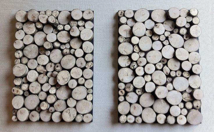Cuadros decorativos confeccionados con troncos de Hualle