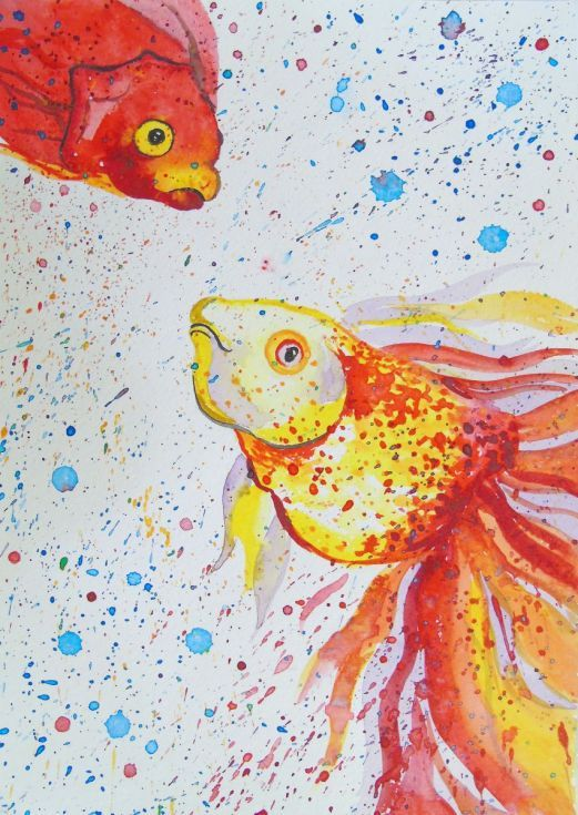 Buy Goldfish, Acrylic painting by Olha Darchuk on Artfinder. Discover thousands of other original paintings, prints, sculptures and photography from independent artists.
