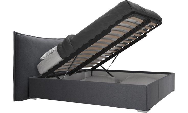Betten - Gent Bett mit Lattenrost und Staufach unter hochklappbarer Liegefläche, Matratze gegen Aufpreis - Grau - Stoff
