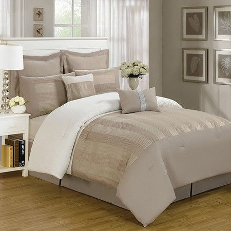 Perfect for boldly-decorated rooms and neutral palettes alike, this stylish comforter set features tonal taupe striping for versatile appeal.