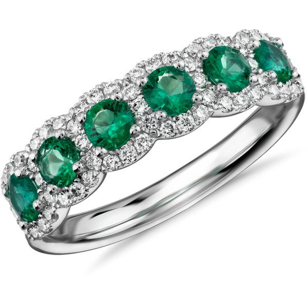 Blue Nile Diamond and Emerald Halo Anniversary Ring (115.800 RUB) ❤ liked on Polyvore featuring jewelry, rings, emerald anniversary ring, round cut rings, anniversary band rings, diamond anniversary rings and 18k ring