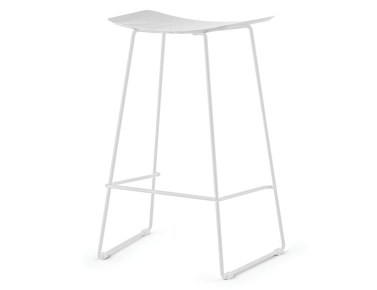 Winnie Stool - White Frame With White Stained Solid European Oak Seat
