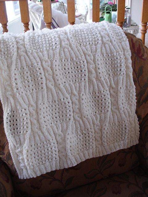 Free Pattern: Cabled Eyelet Baby Blanket by Nancy Hearne