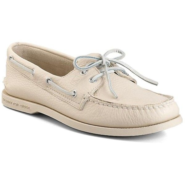 Sperry Men's Ice A O 2-Eye Leather Boat Shoe ($38) ❤ liked on Polyvore featuring men's fashion, men's shoes, men's loafers, white, mens boat shoes, mens white deck shoes, mens white leather shoes, mens deck shoes and mens lace up shoes