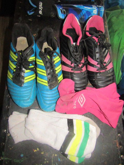 Soccer Lot Cleats Shin Guard and Socks Adidas Umbro