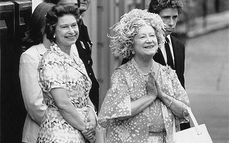 "One must love a woman who's favorite phrase, regardless of the circumstances, was ""Isn't this fun!""   August 4, 1980: Queen Elizabeth with the Queen Mum on her 80th birthday."