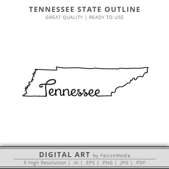 Tennessee State Outline Graphic  Includes Cut Files by FalconMedia