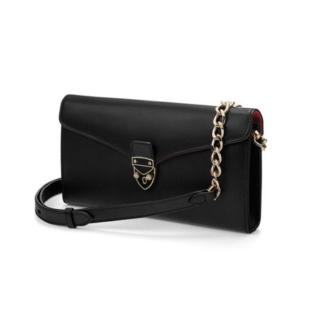 Mini Manhattan Clutch in Smooth Black from Aspinal of London