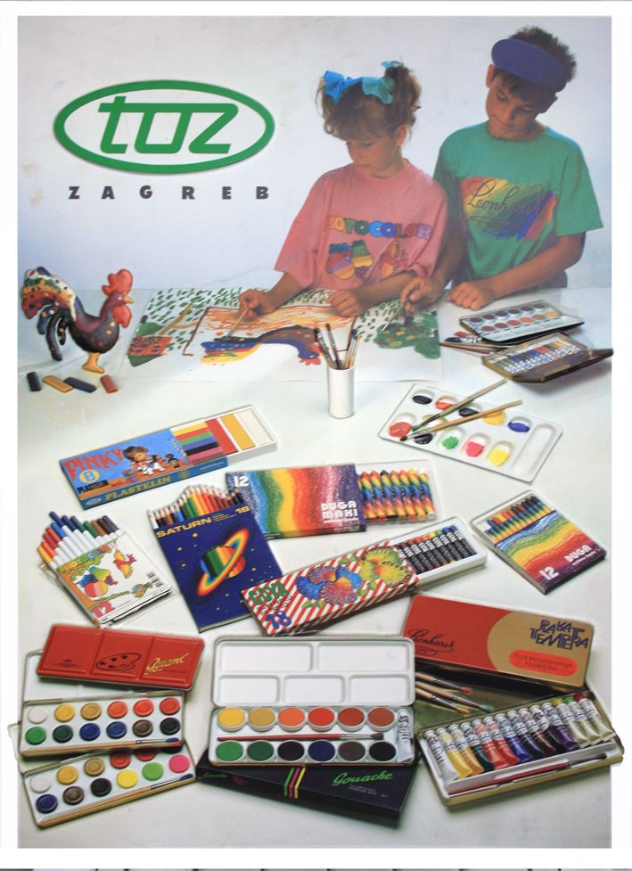 Advertising material produced by Ozeha, best known full-service Croatain advertising agency in period from 1945 to 1996: Poster from 1988 for TOZ, the Zagreb  pencil factory, the owner of the rights on brand Penkala (first brand of mechanical pencils, invented by Croatian Eduard Slavoljub Penkala, 1906