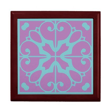 Southwestern Lavender Turquoise Tile Design Gift Box - diy cyo customize create your own personalize
