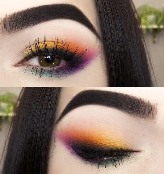 Nettes farbiges Augenmake-up suchen nach grünen Augen   – Makeup Inspiration, Looks, and Ideas