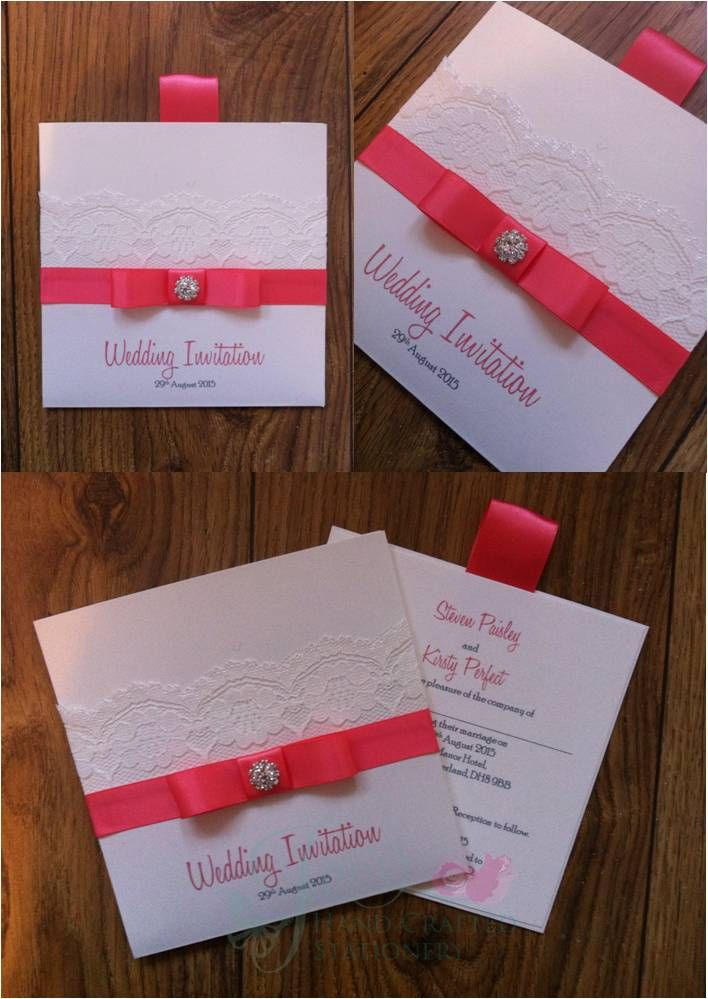 african wedding invitations uk%0A Coral Wallet Wedding Invitation with lace and diamante embellishment  www jenshandcraftedstationery co uk