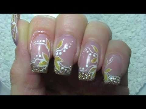 Nail Art Design Tutorial -simple- golden leaves