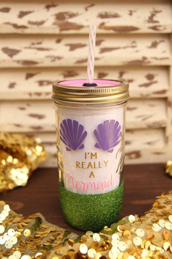 I'm Really A Mermaid 24oz Glitter Dipped Mason Jar by Sweetlylemon