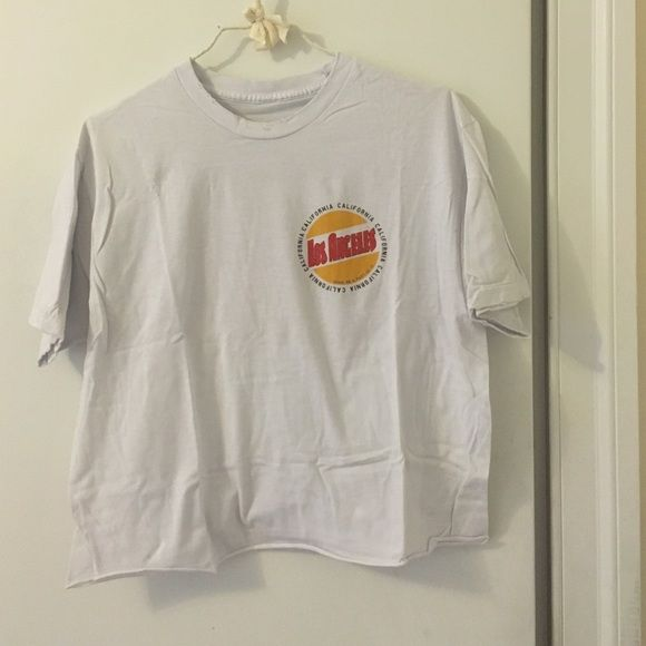 """Brandy Melville """"Los Angeles"""" Graphic T-Shirt Brandy Melville Cropped White Tee Shirt with Los Angeles Logo Brandy Melville Tops Crop Tops"""