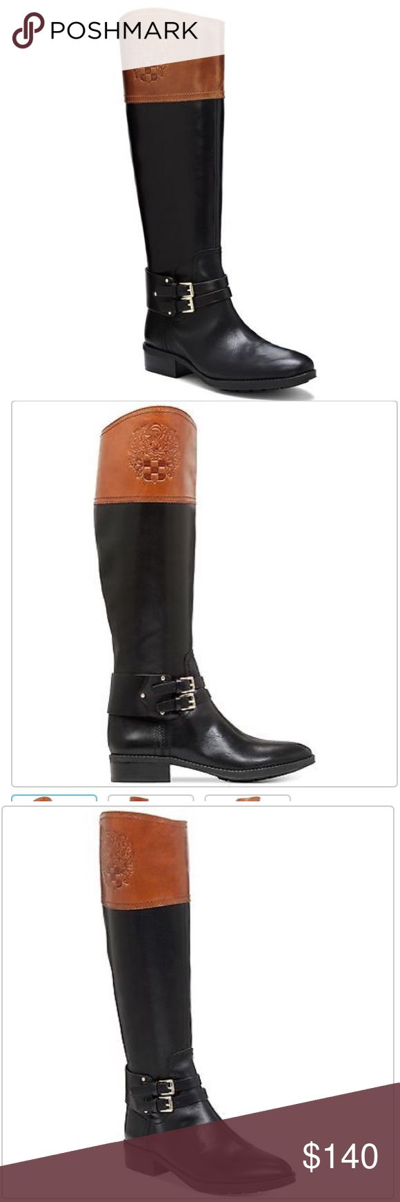 """💖FLASH SALE💖Vince Camuto Crest Embossed  Boot Ride off in style wearing this classic boot. Lapped up in two-tone leather, this classic riding boot is distinguished by an embossed crest symbol on the cuff and double-buckle ankle belt. A smart choice with the Transitional Quilted Jacket. 1.5"""" heel """" shaft height; """" calf circumference Leather upper, man-made lining and sole Side zip closure.  Brand new without box. Vince Camuto Shoes Over the Knee Boots"""