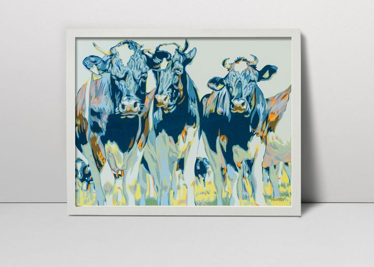 Herd of cowes serigraph  - cow art - cows print  - cows painting - cows screenprint  - cows grazing on a field - summer green meadow farm by komarovart on Etsy