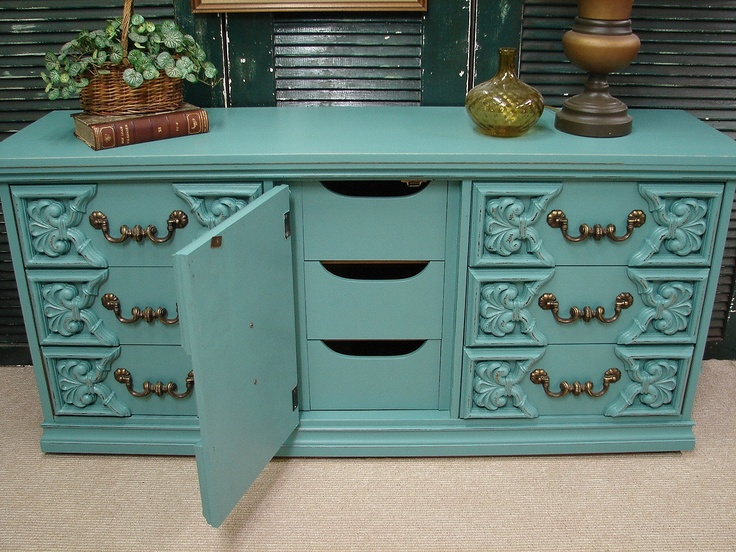 reclaimed vintage robin egg blue paint ornate 60s long dresser baby credenza media console chest of
