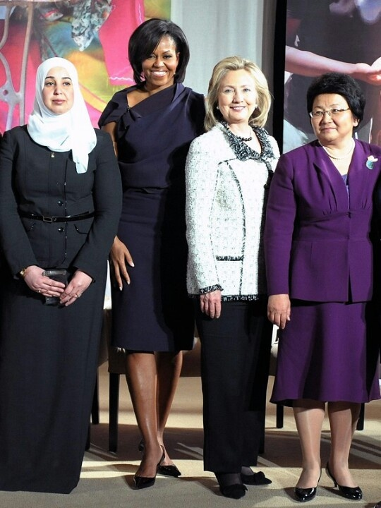 Ist Lady Michelle Obama With Then Secretary Of State Hillary Rodham Clinton...  International Women Of Courage Awards Honorees.... 2011
