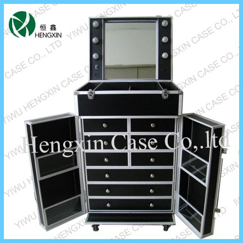 Professional Makeup Cases On Wheels | Aluminum Cosmetic Train Beauty lighting Makeup Case Box