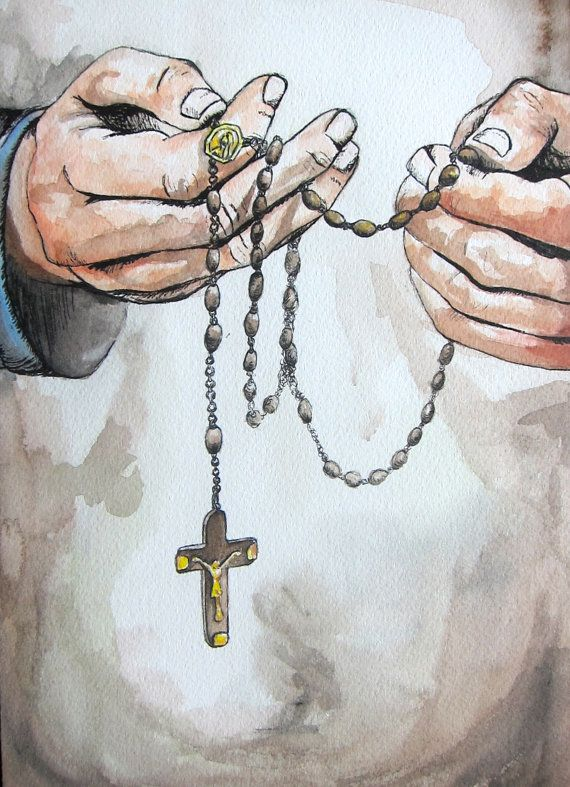 """""""Open To"""" by Ellen Wright - Catholic Art Original Watercolor Painting Hands Praying with Rosary"""