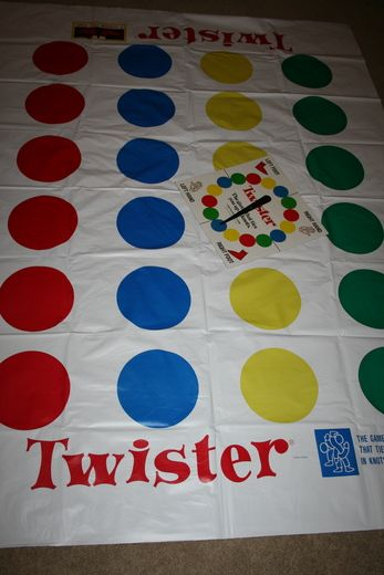I trolled thrift stores for Twister mats and used them as tablecloths in the party room.