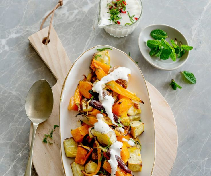 Roasted vegetable salad with coconut, lime and chilli dressing By Nadia Lim