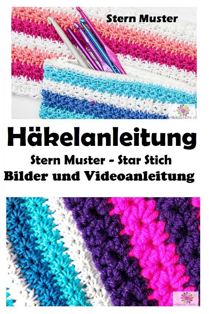 Häkeln Lernen: Stern Stich / Star Stich. Häkelanleitung Kostenlos als Bilder und Videoanleitung auf Kuema-Tutorial.de