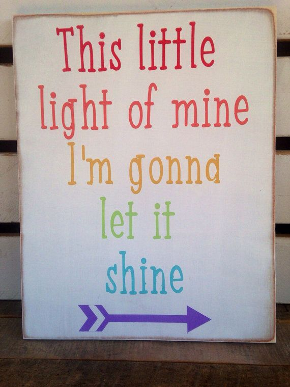 This little light of mine I'm gonna let it shine painted rainbow hue wooden sign playroom decor kids room decor Sunday school   on Etsy, $30.00