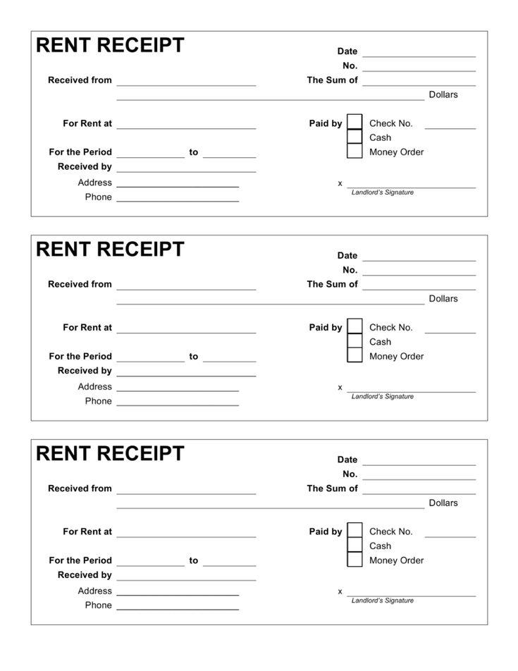 Image result for word format rent receipt
